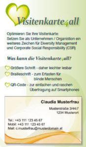 Barrierefreie Printprodukte: Flyer für barrierefreie Visitenkarte4all